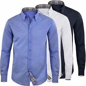 Uomo-Camicia-Manica-Lunga-Cotone-Comfort-Slim-Casual-Button-Down-GIROGAMA-2374CL
