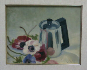 Painting Vintage Signed Valli To oil Blossom Nature Still IN Inside BM51