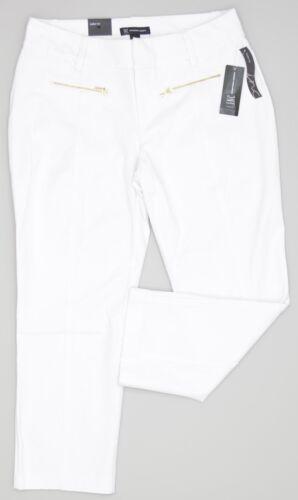 INC Curvy Fit Straight-Leg Cropped Zipper-Pocket Pants Bright White NEW 6312