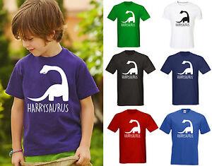 Personalised Kids Dinosaur Name T Shirt Top Clothes Kids Boys Girls children