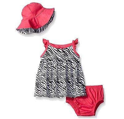Gerber Girls 3-Piece Black//Pink Zebra Set; Dress Panties /& Cap BABY SHOWER GIFT