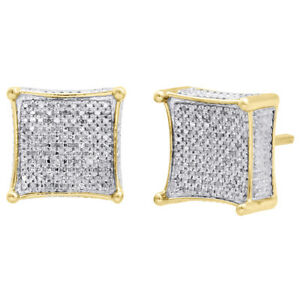0.05 Ct Round Cut Yellow Natural Diamond Kite Shape Stud Earrings 14k Yellow Gold Plated .925 Silver