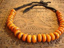 Moroccan medium tarnished shiny amber resin bead necklace