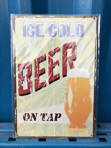 Ice Cold Beer On Tap Restaurant, Bar, Pub, Vintage, Man Cave Metal Tin Sign