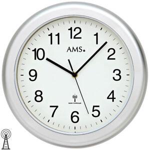 Details zu NEU AMS Wanduhr Badezimmer Uhr Funk Funkuhr silber rund  wasserdicht 30 cm groß