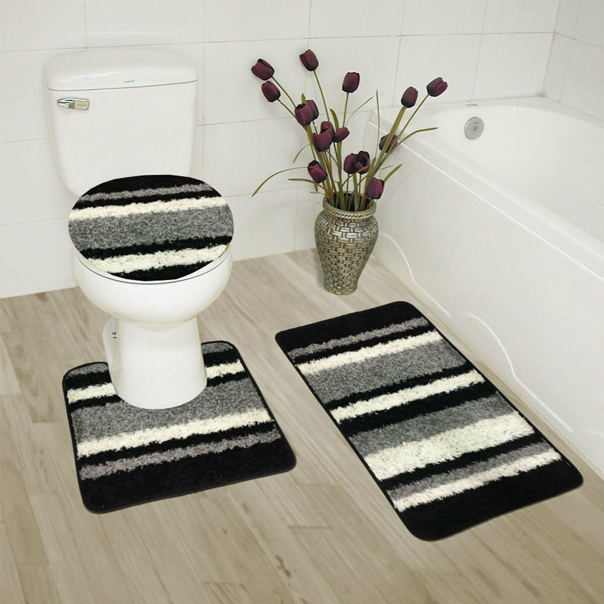 Abby 3 Piece Bathroom Rug Set Bath Rug Contour Rug Lid Cover Stripe Black
