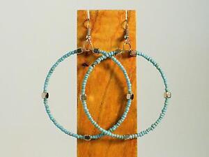 2-034-Handmade-Large-Seed-Bead-Hoops-Silver-Tone-Boho-Roxie-Earrings-9-COLORS