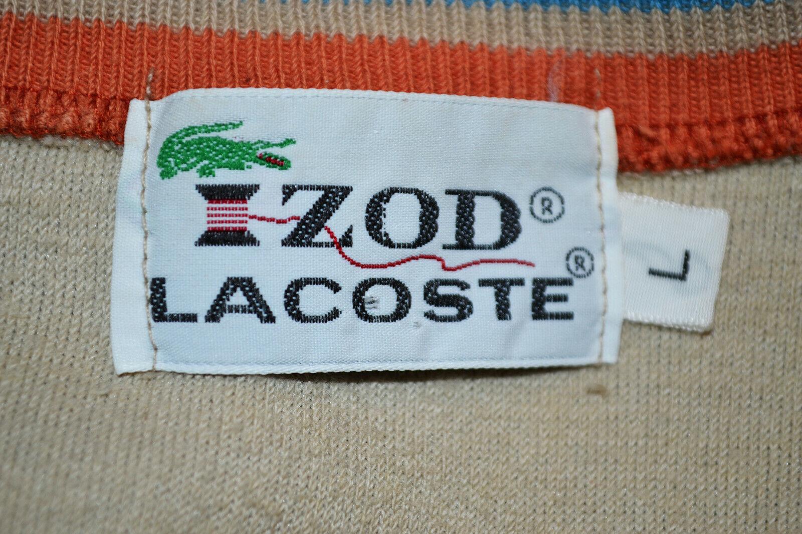 Vintage 70s IZOD LACOSTE Velour V-Neck Ringer Str… - image 7