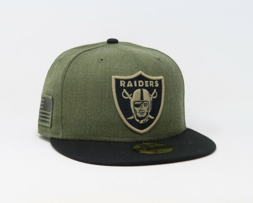 New Era 59Fifty Mens Hat Oakland Raiders NFL Salute To Service Green Fitted Cap