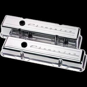 Details About Billet Aluminum Small Block Chevy Short Valve Cover Chevrolet 350 327 40 Script