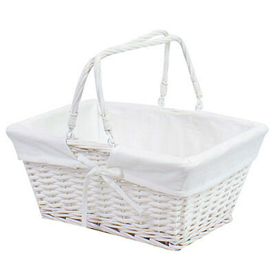 Shopping Basket Storage Handle White Traditional Vintage Wicker Weave Box New