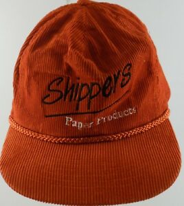 Shippers-Paper-Products-Adjustable-Cap-Hat-Red-White-Black-Corduroy