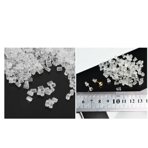 1100Pcs Plastic Earstud Earring Plugs Back HOT Soft Caps Clear Lock Stopper
