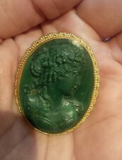 Estate Malachite Cameo and 14K Gold Brooch / Pendant! Hard to find!