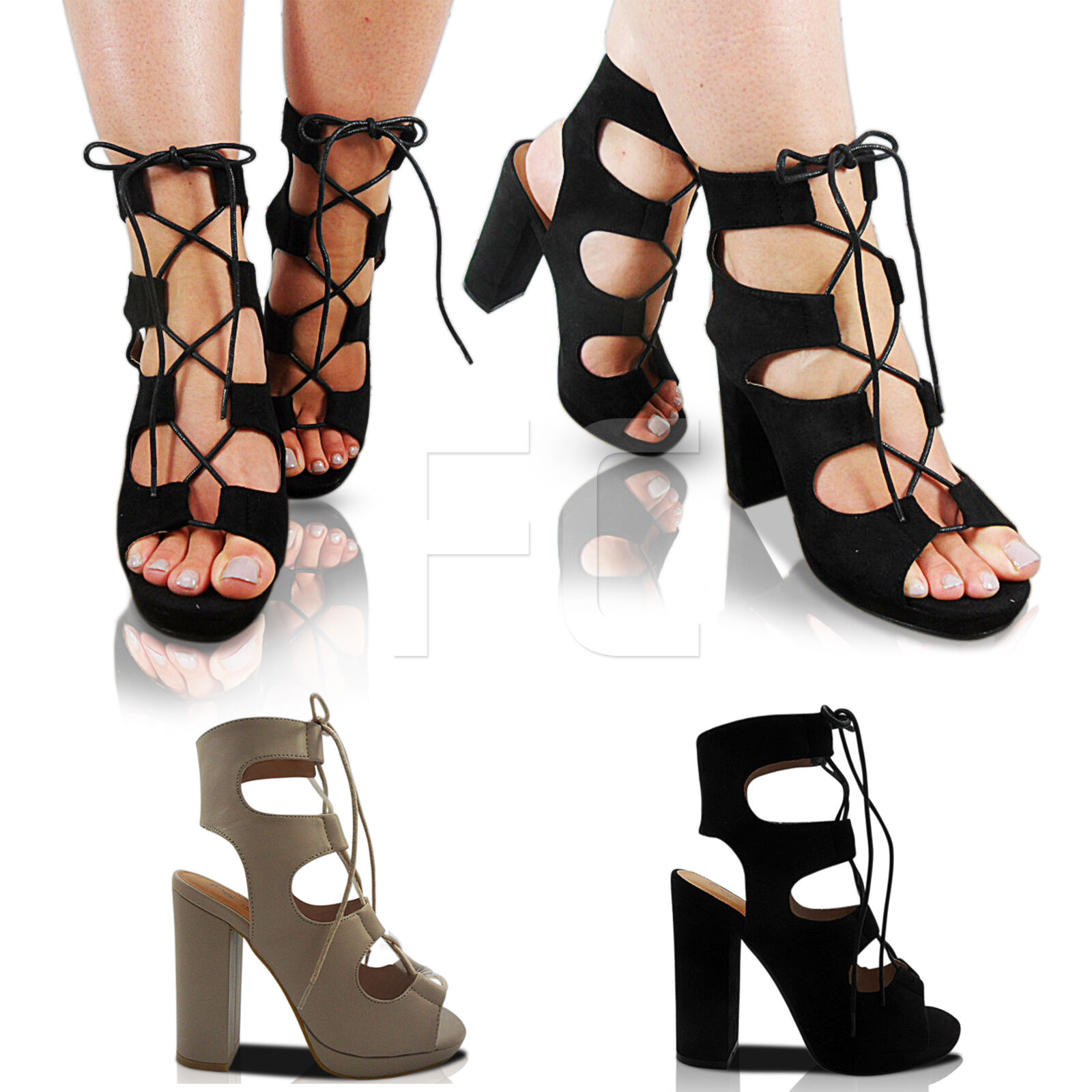 NEW LADIES LACE UP PLATFORM HIGH HEEL BLOCK CUT OUT ANKLE BOOTS SHOES SIZE PARTY