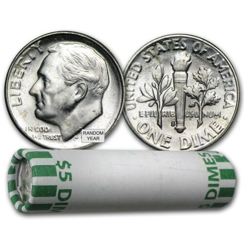 SKU #22018 90/% Silver Roosevelt Dimes 50-Coin Roll BU