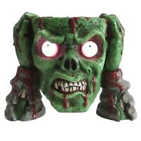 Zombie Head Candy Bowl Prop 8 In. Green Led Lighted