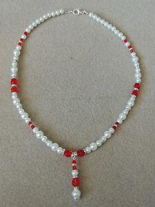 Halskette Perlen Hochzeit Braut Feier Ball Zweifärbig Rot Weiß Necklace Wedding Entlastung Von Hitze Und Sonnenstich Brautschmuck