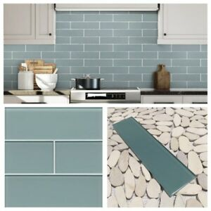 """3""""x12"""" sea blue crystal glass subway tile for kitchen"""