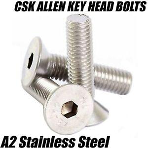 5mm M5 A2 Inox Svasati CSK presa Allen Chiave Bulloni Viti Din 7991