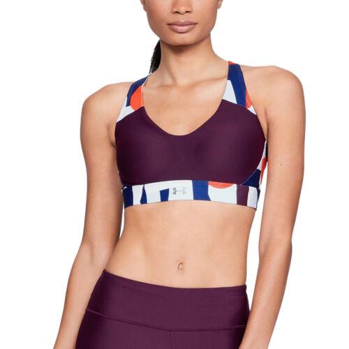 Under Armour UA Womens Vanish Purple Panel Print Mid Gym Training Sports Bra