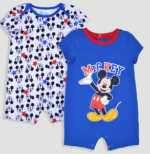NWT Lot of 2 Disney Mickey Mouse Rompers Baby Boy NB 0-3 12 18 ... ebcde770b