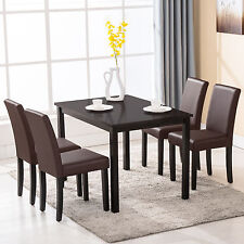 5 Piece Glass Top Dining Round Kitchen Table Set Chairs Bistro ...