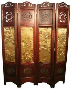 Details About New Asian Orient Vintage Style 4 Wooden Panels Screen Room Divider 71 X64 Gl