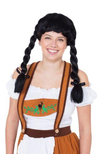 Auburn Oktoberfest Fancy Dress Accessory Fraulein Pigtail Wig Black Blonde