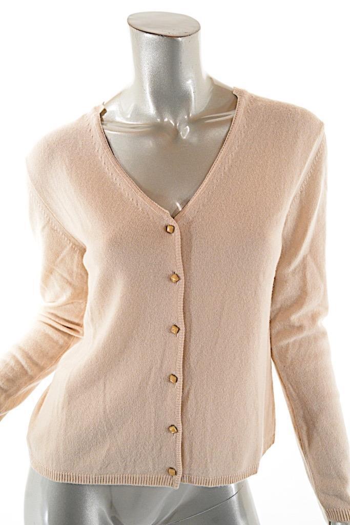 PASHMERE 100% Cashmere Beige Cardigan Sweater w w w  Jewel Buttons - NWT - I42-  450 6043ce