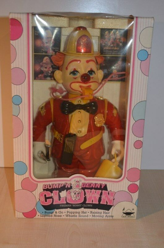 Bump 'n Benny Benny Benny Clown Fireman Battery operated Robot vintage NEW - New Bright 817676