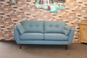 FRENCH CONNECTION ZINC TEAL FABRIC 2 SEATER SOFA (2)