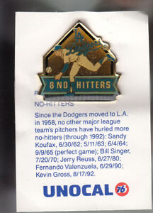 VINTAGE-L-A-DODGERS-UNOCAL-PIN-UNUSED-8-NO-HITTERS