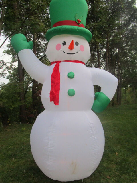 10 foot airblown inflatable green hat snowman christmas holiday yard decoration