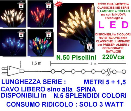 SET N.50 PISELLINI PISELLO a LED BIANCO CALDO Mt.5 IP44 220//24V PRESEPE ALBERO