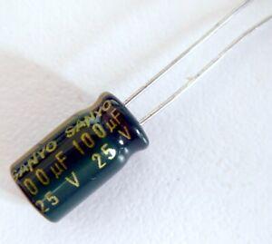 Condensateur-Sanyo-25V-100uF-radial-electrolytique-Aluminium-Radial-capacitor