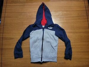 Details about Puma Zip Up Hoodie. Boys Size 7. Navy/gray. (T30)