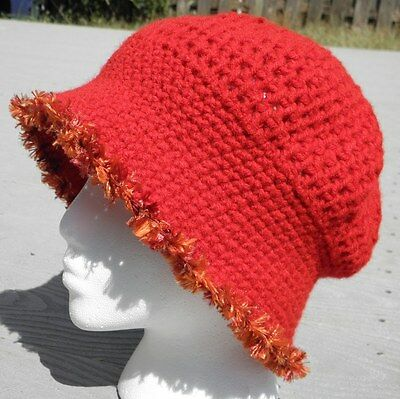Graceful Red Medium Size Crocheted Cloche - Handmade by Michaela