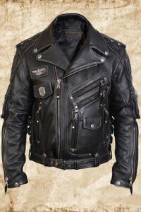MEN-039-S-GENUINE-COWHIDE-PREMIUM-LEATHER-MOTORCYCLE-BIKER-TOP-LEATHER-JACKET-BLACK