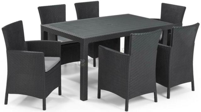 Savannah Rattan Garden Furniture 6 Seat Round Dining Table 6 Chairs Outdoor For Sale Ebay