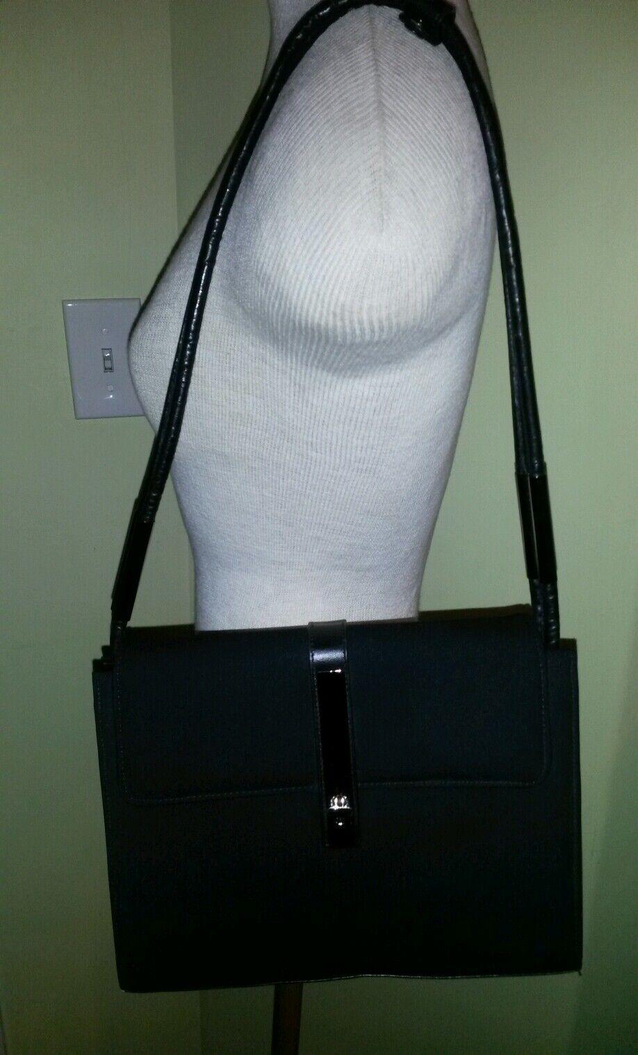Stuart weitzman black fabric w/ leather trim, metal accents shoulder bag !