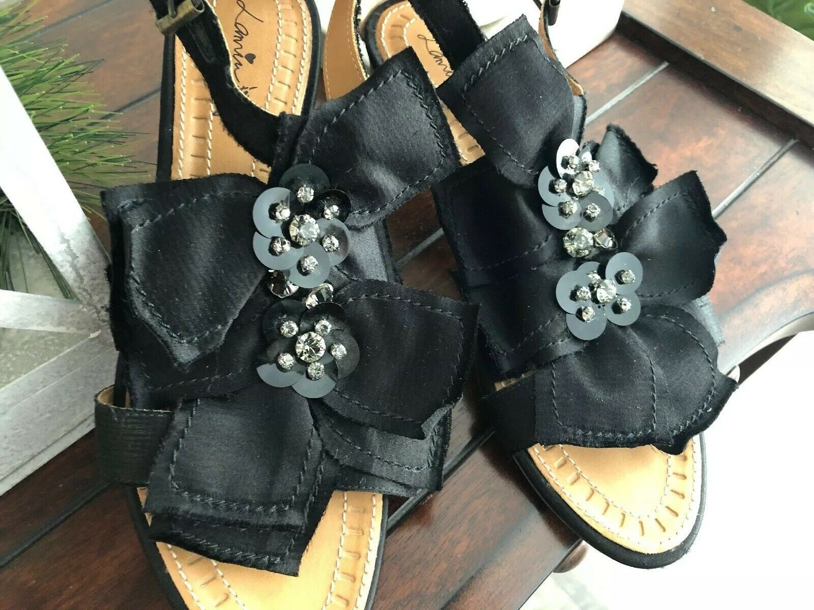 LANVIN Ete 2011 2011 2011 nero Silk Gem Sandals nero  Leather - Dimensione 7.5 EUC 21827f
