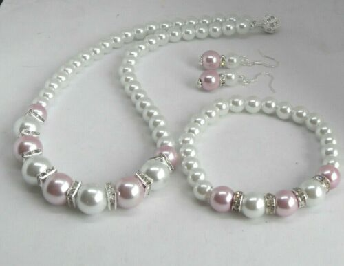 Beautiful White and Dusky Pink Bridesmaid//Wedding Glass Pearl Set
