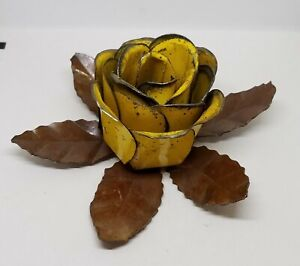 Vintage-Tole-Metal-Cabbage-Rose-Yellow-Flower-Taper-Candle-Holder