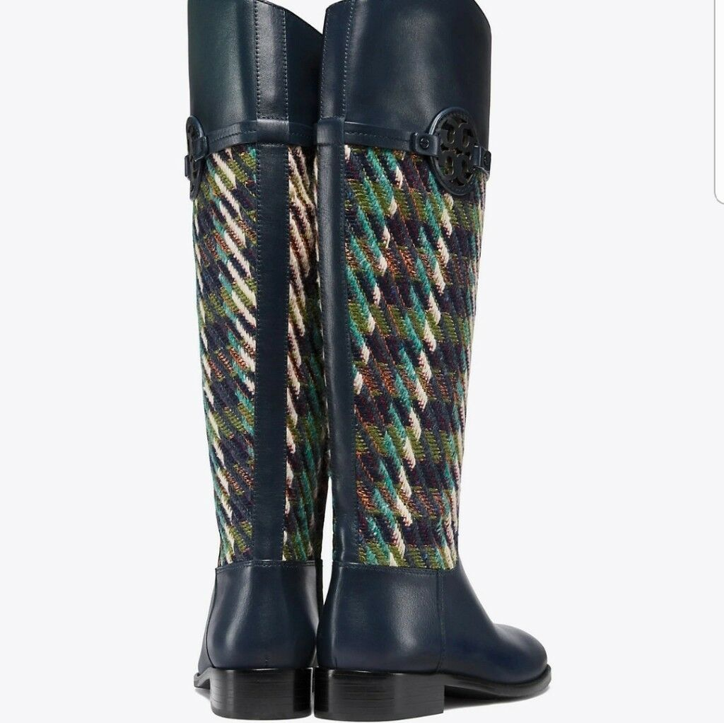 Tory Burch Miller Riding Boot, Tweed Bright Navy Green Dogtooth  568.00 Size 5.5