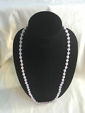 8 mm Round Pink Rose Quartz Stone Necklace, 3 mm Silver Plated Spacers 32 inches