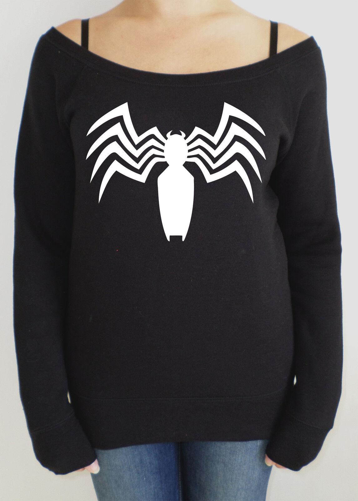Venom from Spiderman logo women's slouch style baggy sweatshirt.