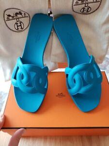 Hermes Aloha Blue Rubber Sandal Size 40