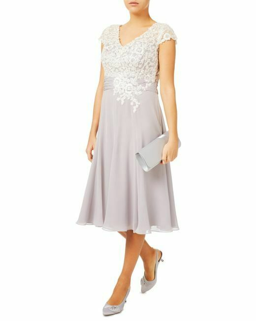New Jacques Vert dress 14 22 Lace Bodice Pearl Beaded chiffon occasion rrp