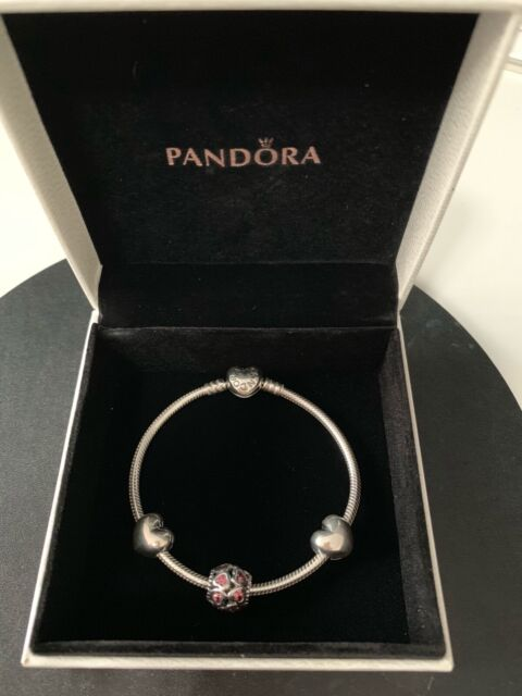 Genuine Pandora Sterling Silver Heart Clasp Bracelet Gift Set 19cm inc 3 Charms